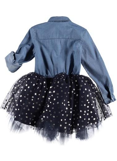 Tütülü Denim Elbise-Asymmetry